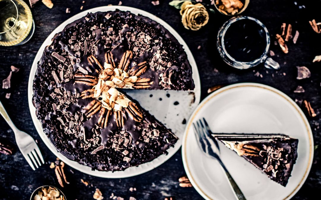 Шоколадова торта с пеканов крем